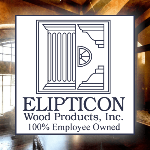 Elipticon logo with dining behind it